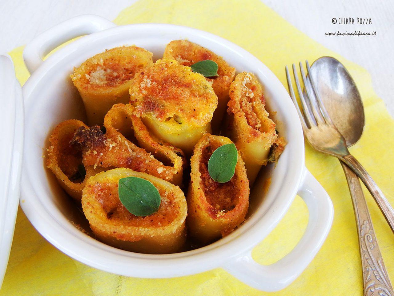 Paccheri gratinati con frittata di zucchine e pomodorini secchi