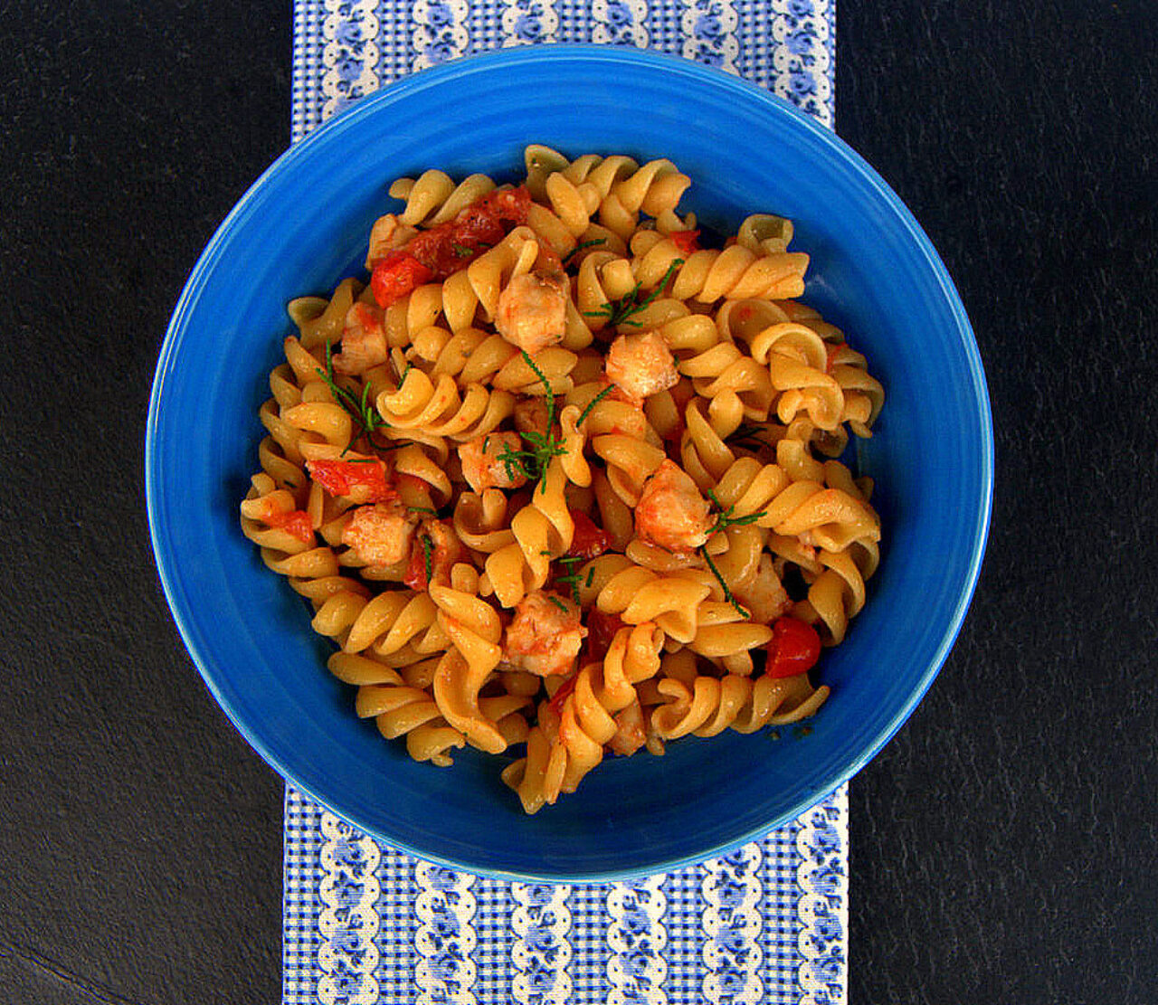 Pasta Armando Fusilli with baby tomatoes, cod and olive herb