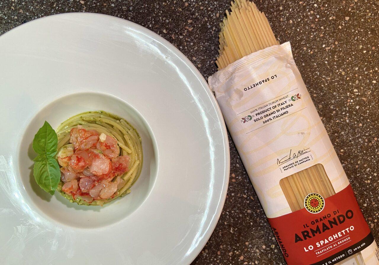 Ricetta spaghetti pasta armando gamberi pesto bisque unastellaincucina 3