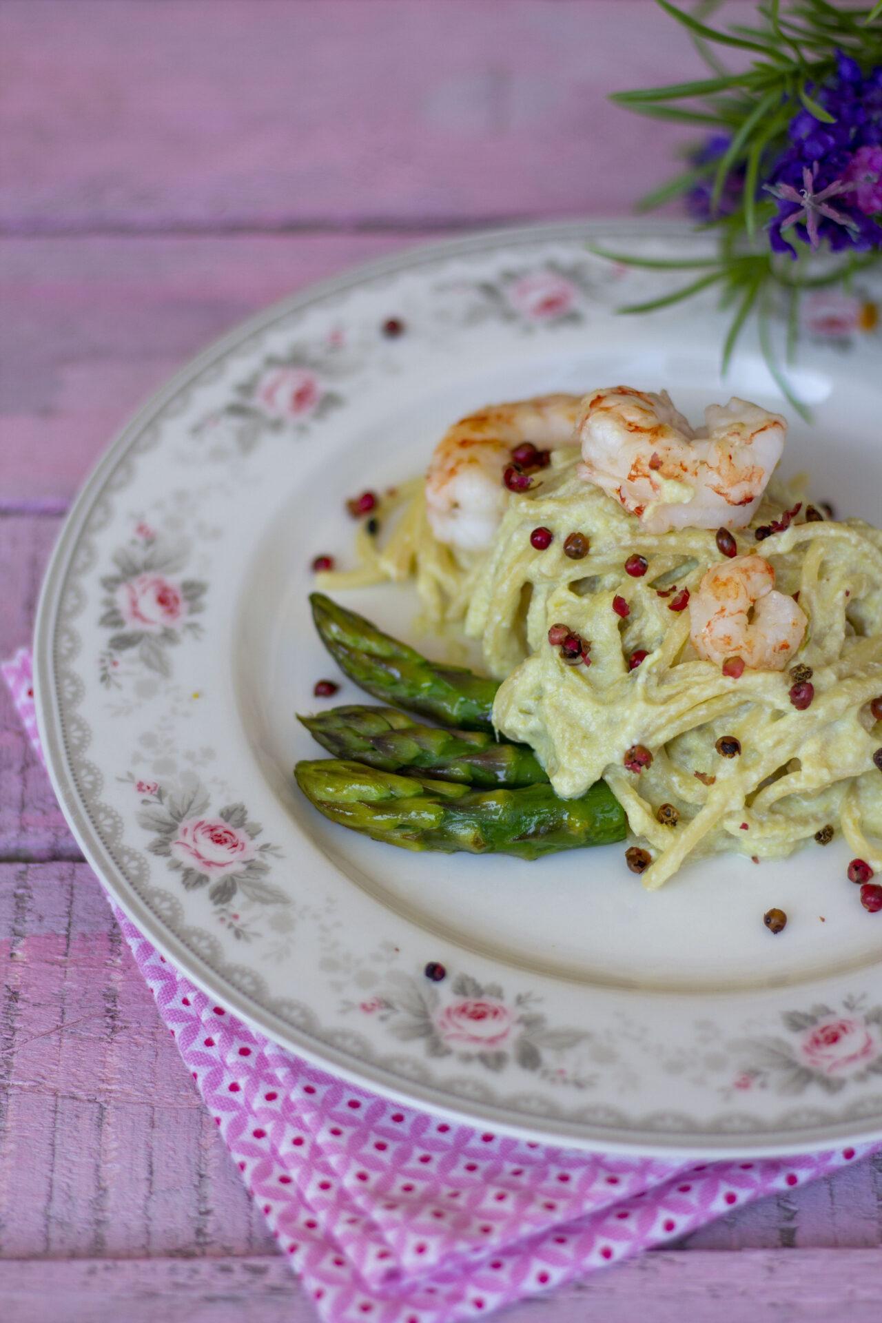 Ricetta spaghetti pasta armando crema asparagi gamberi pepe rosa kucina di kiara 1