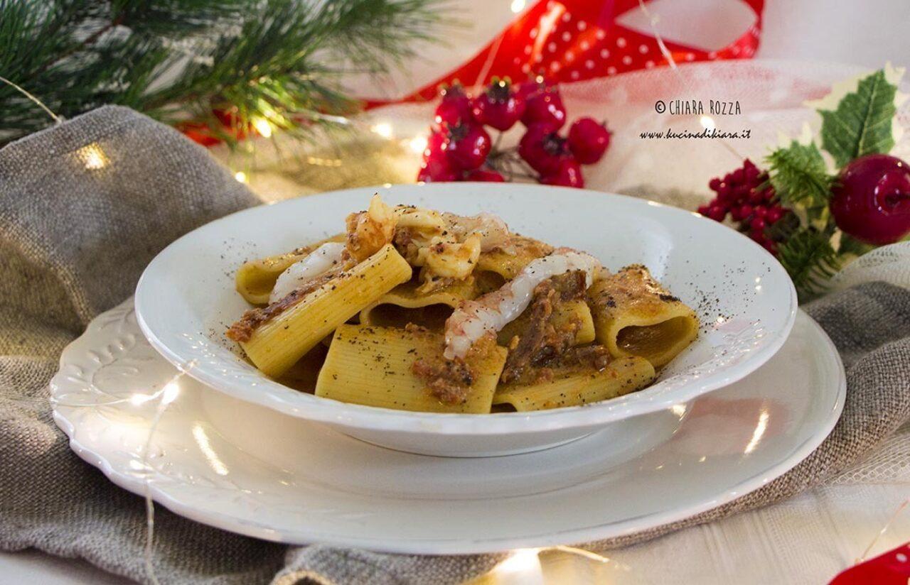 Schiaffoni Pasta Armando con gamberi, pomodori secchi e caffè