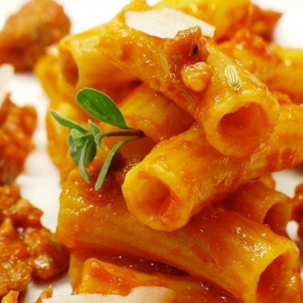 Tortiglioni with sausage and fennel seed sauce