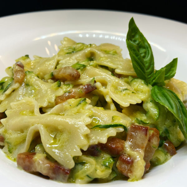 Pasta Armando Farfalle with zucchini, robiola cheese and pancetta