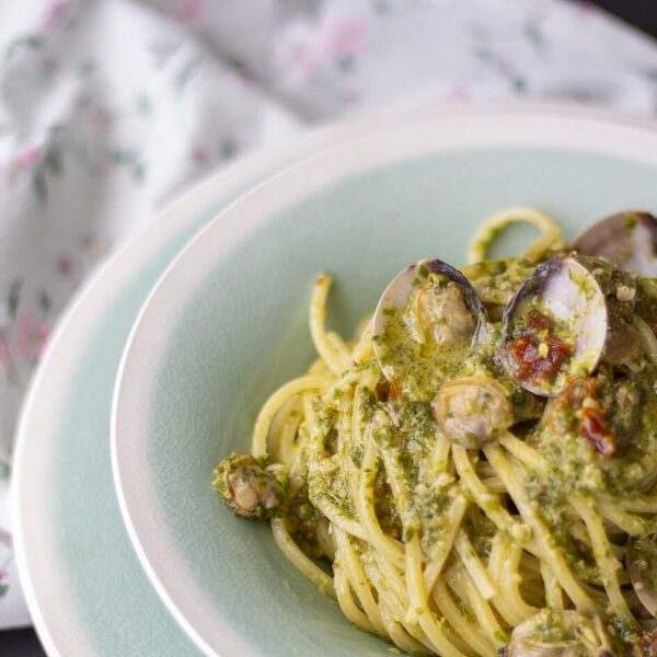 Pasta Armando Chitarra with celery leaf pesto and clams